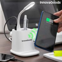 Trådlös laddare med förvaringshållare och LED-lampa med USB.